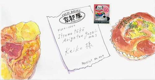TKの絵封筒(2) ~パンとレシート