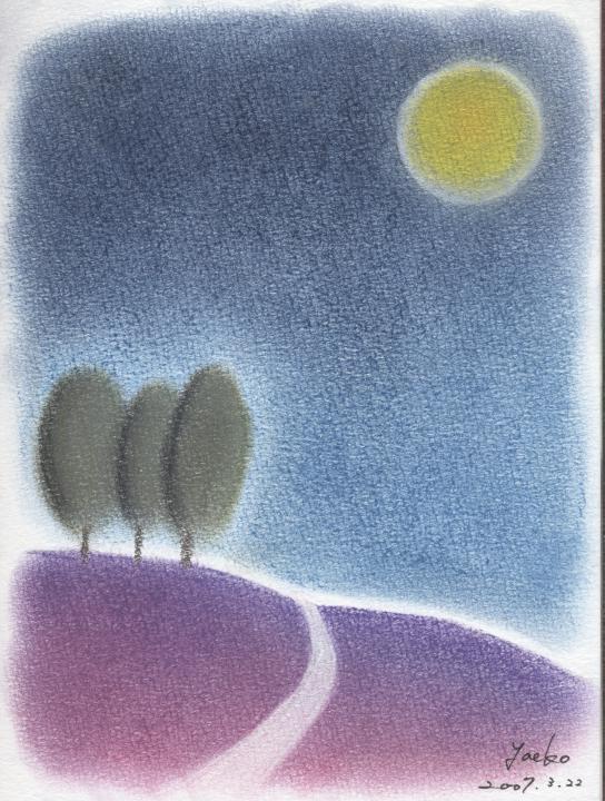シータさんのパステル画 ~『月の丘』