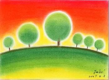シータさん作『幸せの丘 木の親子』