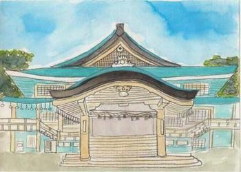 keikoさんの水彩画『宝蔵神社』